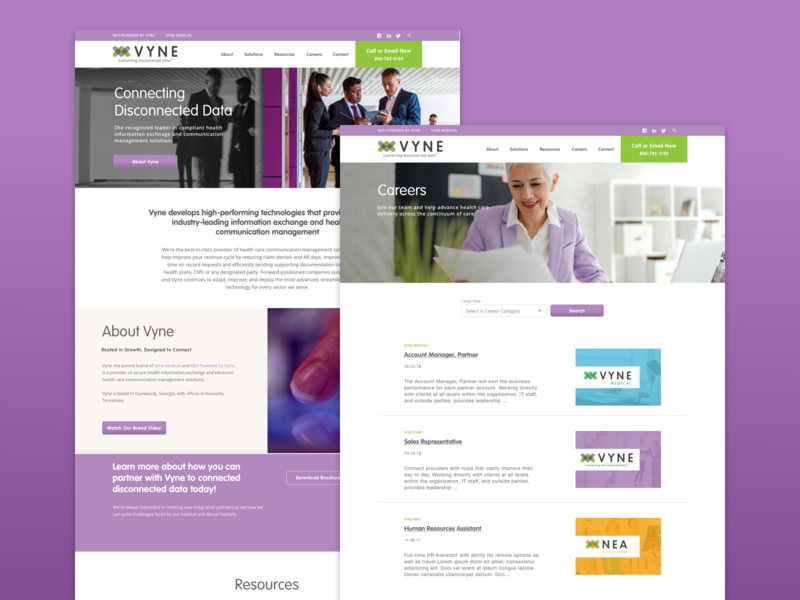 Vyne Corp flexible family of websites brand system systems website
