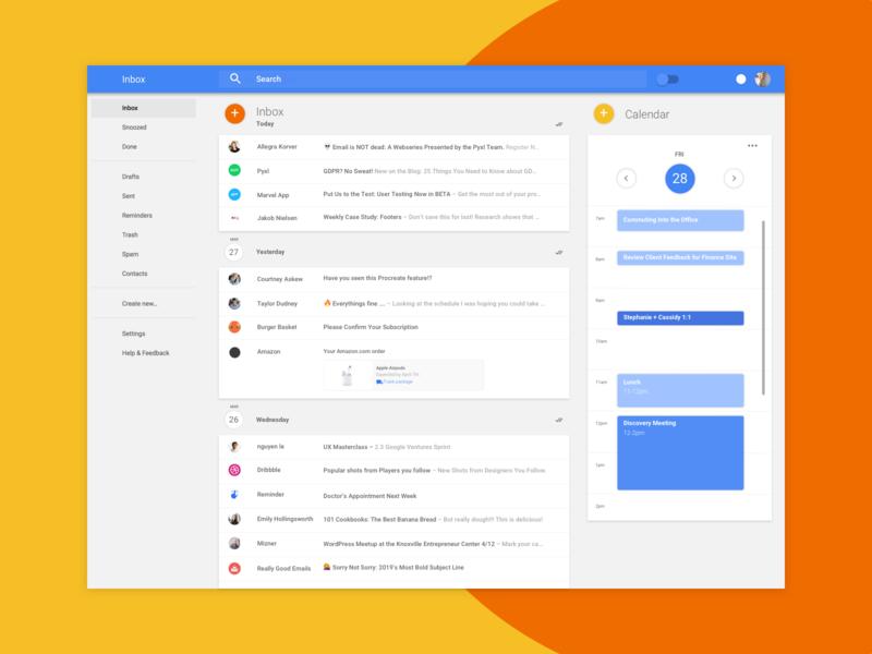 Google Inbox, Meet Google Calendar production design productivity inbox email google material design calendar ux-ui ui  ux design ui  ux ui dashboard email app gmail outlook yahoo