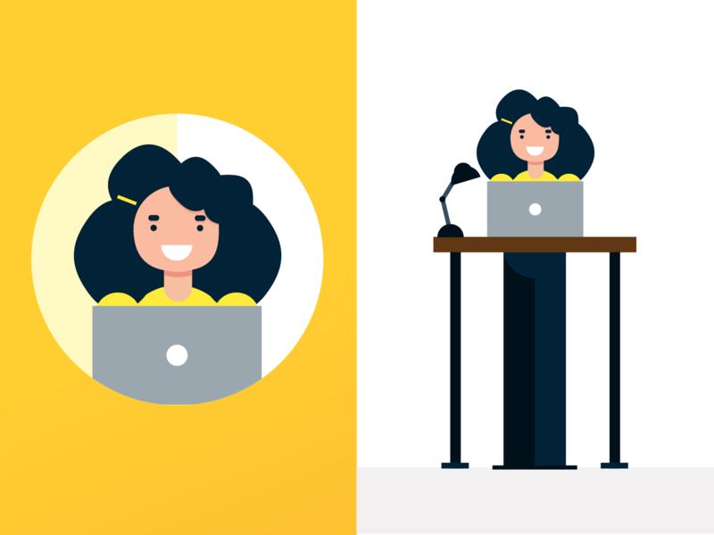 Gigantic Inspired Character Illustration women who design womens day work desk laptop workflow standing desk girl female woman illustration character character illustration gigantic