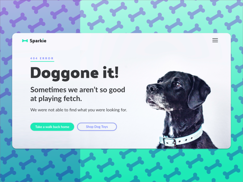 Doggone it! Another 404 by Stephanie on Dribbble