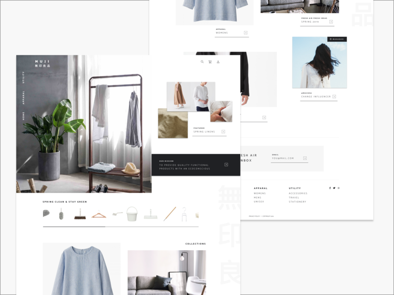 Minimalist UX before and after for fun ux  ui apparal modern minimalist japanese b2c product clothing minisite website ux minimal
