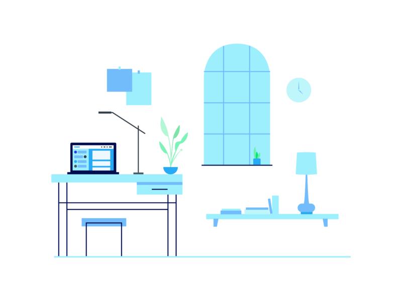 WIP SaaS Platform Illustration flat home office office plants window laptop shelf desk aqua blue church modern monochromatic illustration saas