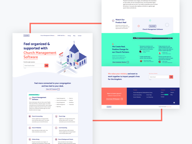 Elexio Homepage ui ux layout webdesign website saas chms church elexio