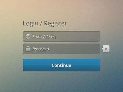Freebie Register/Login Screen