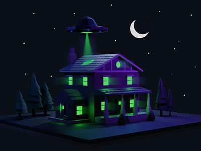 UFO moon house ufo