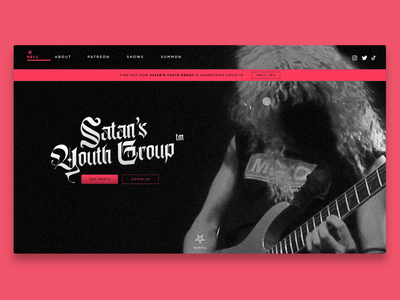 Satan's Youth Group adobe xd website concept for the lols design challenge website