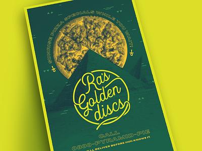 Ra's Golden Discs halftone print pizza branding design challenge