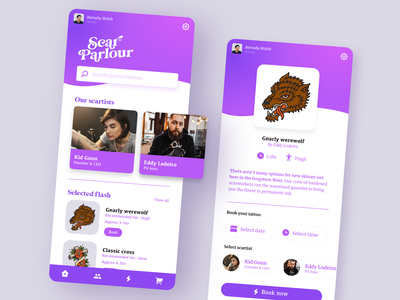 Scar Parlour - Tattoo Shop App app design web design mobile app mobile ux ui ui  ux uiux adobexd design challenge