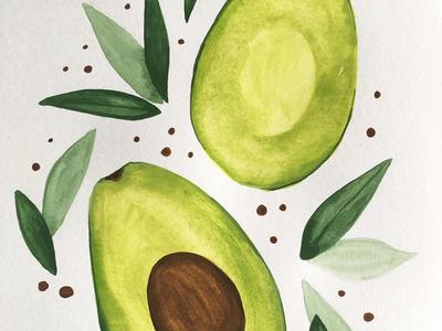 Avocado in watercolor