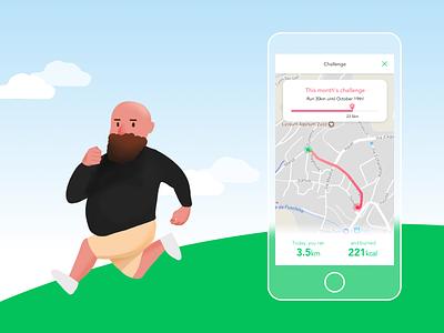 Running app product design design ux ui illustration