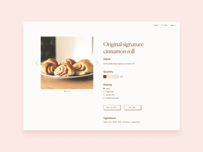 Bun bun bake shop - item page website ui ux design minimal flat web design typography web