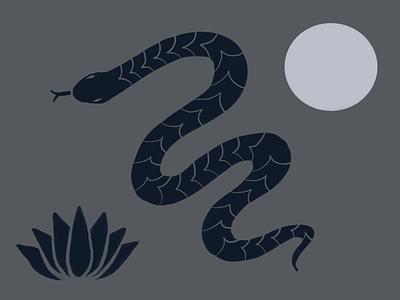 Grandma's python dream minimal flat branding design illustration