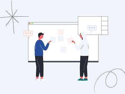 Virtual brainstorming ux minimal flat vector design illustration