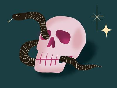 Skull snek minimal design halloween skull snake procreateapp illustration