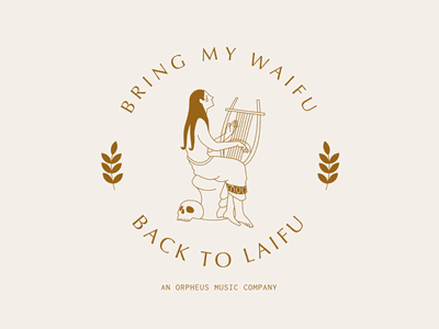 Bring My Waifu Music Company art illustrator minimal typography design flat vector logo branding illustration