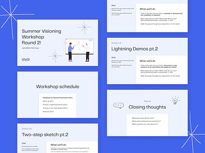 Workshop slides design presentation design presentation flat minimal vector branding design deck