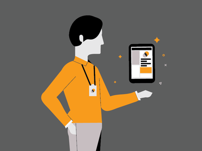 Branding Ambassador  campaign tablet minimalist business worker man branding linear illustrator ambassador