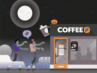 Coffee Zombies - Halloween nightime moon caffeine midnight coffee shop undead hipsters zombies halloween coffee students