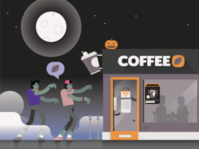 Coffee Zombies - Halloween nightime moon caffeine midnight coffee shop undead hipsters zombies halloween coffee students