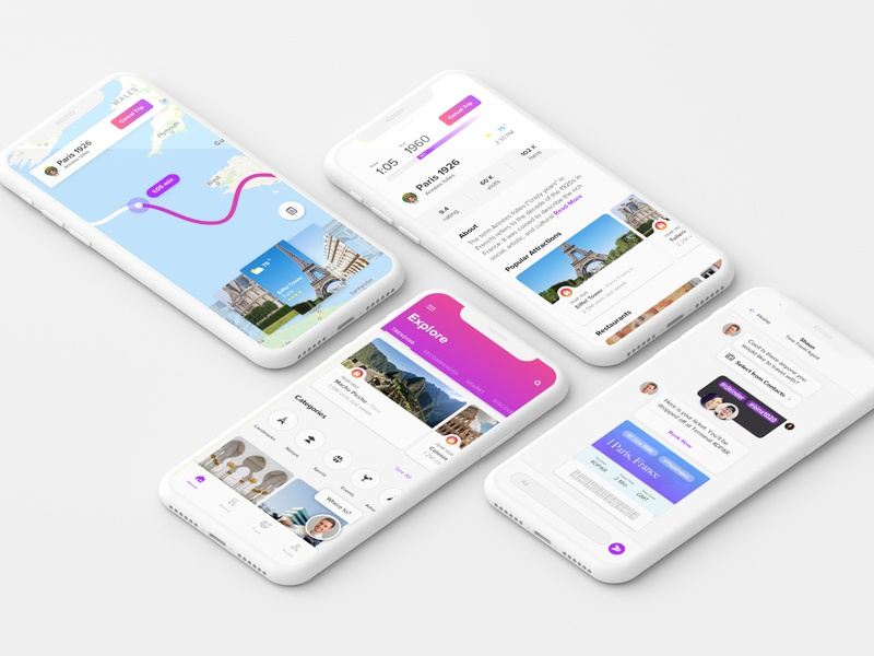 4th Dimension time travel mobile app ui  ux