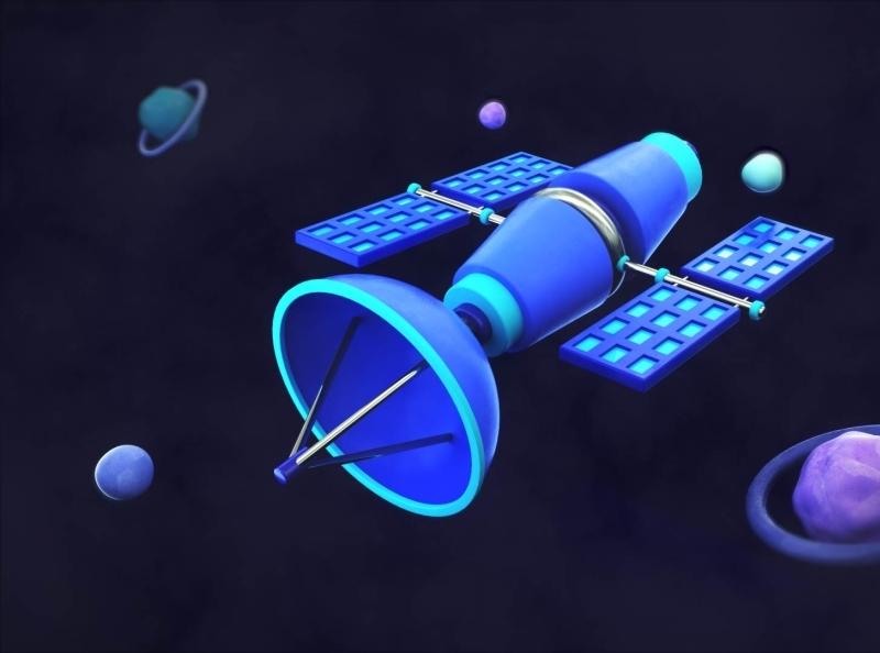 Satellite illustration octanerender octane c4d cinema4d 3dartist 3dart planets outerspace space
