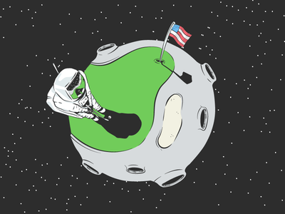 Out of This World Tour illustration man on the moon astronaut space moon golf