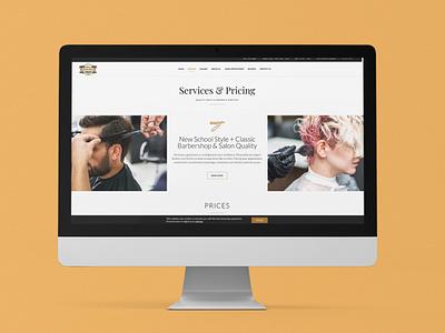 Barbershop Website - Services & Pricing Page brand barbershop website design advertisement illustration branding typography design photoshop