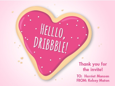 Dribbble Debut Cookie - Kelsey Maton cookie pink heart heart day valentines day food sugar cookie design vector valentine illustration