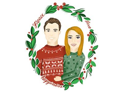 Christmas Card 2017 love peace mistletoe ugly sweaters christmas colors 2017 procreate ipad pro christmas card christmas design illustration