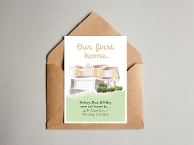 I bought my first house! pastel announcement greeting card moving announcement photoshop illustrator ipad pro apple pencil