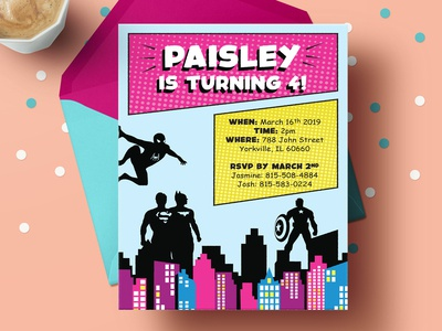 Paisleys Birthday Card comic book comics comic photoshop indesign illustration invites invitations birthday invites superheros