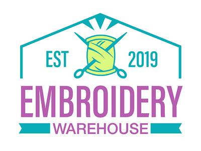 Embroidery Warehouse Logo purple teel graphic design embroidery equipment rgb illustrator logo design logo colorful embroidery