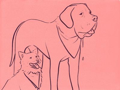 Lula & Porter dog sketch illustration
