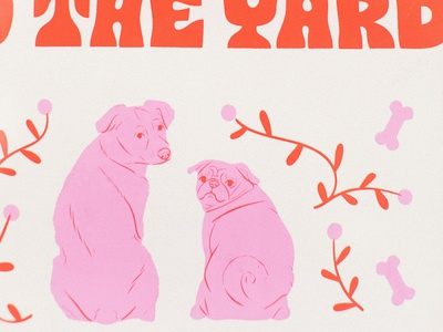 My Milkbones 🐶 pink screenprint pug dog type typography drawing design illustration