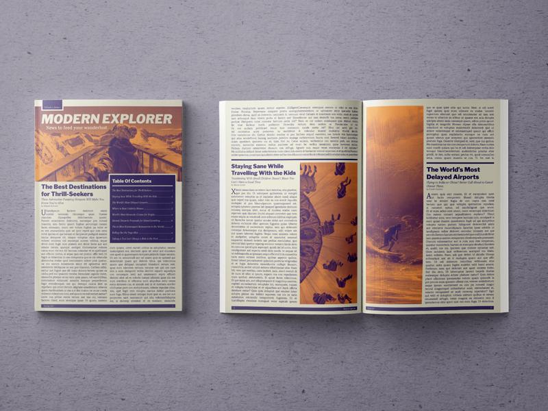 Modern Explorer Newsletter editorial typography publication design newsletter layout