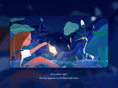 Silent night lotus flower blue night ui illustration