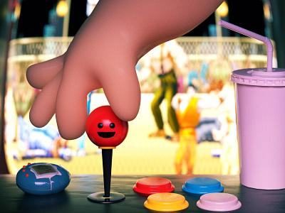 Arcade illustration character final fight gaming arcade retro c4d cinema 4d redshift