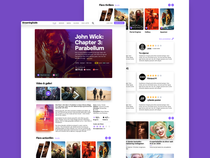 StreamingGuide - Kino.dk movie online design system visual identity design website design