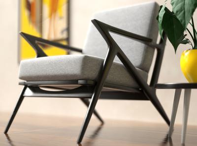 Armchair scene interior design architecture visualization redshift c4d cinema4d design