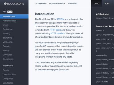 API Documentation Reference api documentation reference blockscore