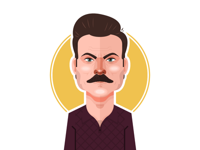 Ron Swanson nick offerman ron swanson portrait parks and rec parks and recreation nbc vector illustration minimal