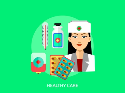 Healthy Care medical vector illustration concept healthy care pack bundle