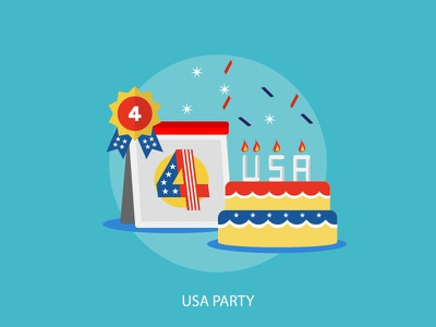 USA party region holiday event usa party independence calendar cake vector july 4 july