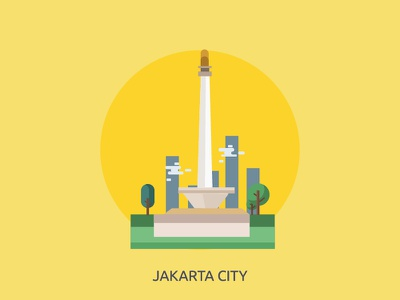 Jakarta City asia country building monument icon vector urban indonesia city