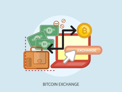 Bitcoin Exchange coin exchange bitcoin bag cursor business illustration money finance currency vector icon
