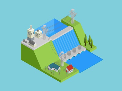 Isometric Hydroelectricity house design 3d urban vector skyscraper set flat icon isometric illustration background