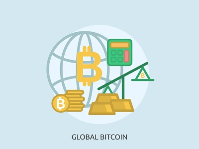 Global Bitcoin banking symbol currency money finance sign coin security door business banner bitcoin