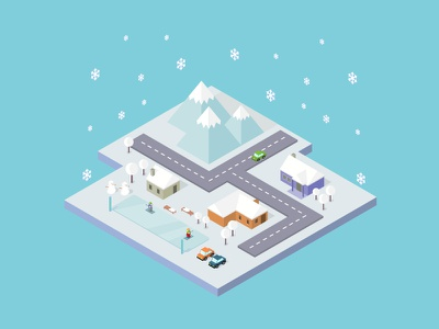 Isometric City Winter holiday snowfall white beautiful landscape frost background nature snow cold season winter
