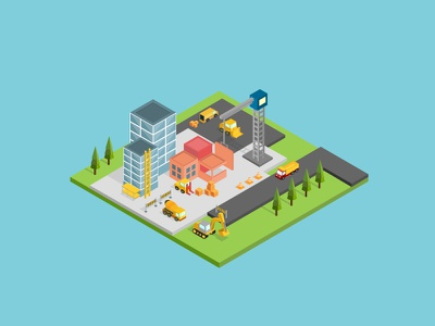 Isometric Building Construction office exterior glass house industry urban street road tree sun cloud icon