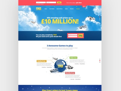 Free Lottery landing page design page landing lottery website web